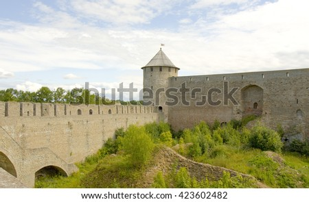 middle ages fortress Ivangprpd in town Ivangorod near Saint Petersburg in Russia.  - stock photo