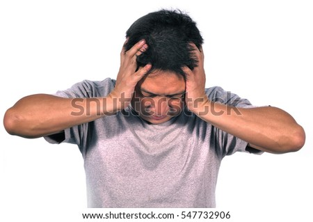 Middle Asian man 42 years old stressful having migraine use his hands clasp temple.