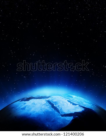 Middle East at night. Elements of this image furnished by NASA - stock photo