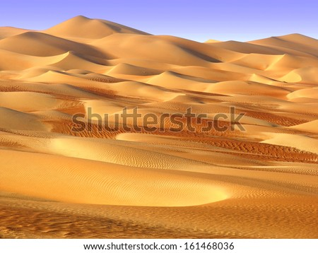 Middle East desert - colourful patterns of the Liwa Desert, which is part of the Rub al Khali Desert or Empty Quarter desert, straddling UAE, Oman, Yemen and Saudi Arabia - stock photo