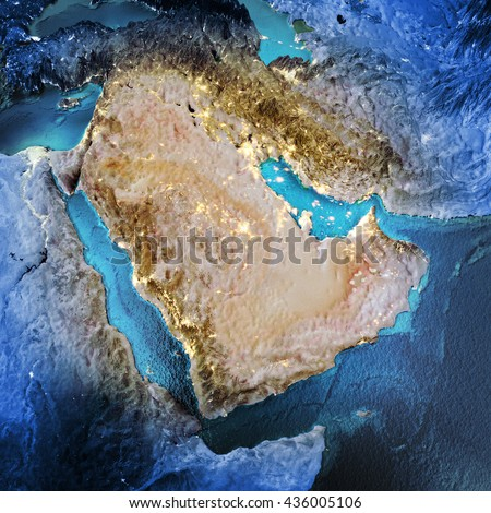 Middle East. Elements of this image furnished by NASA. 3D rendering - stock photo