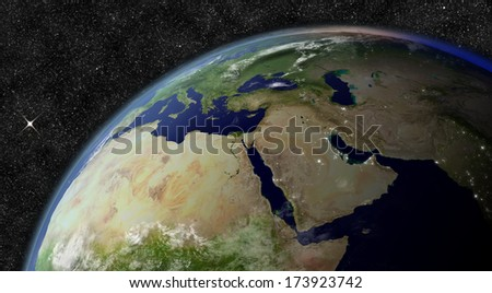 Middle East from space. Elements of this image furnished by NASA. - stock photo