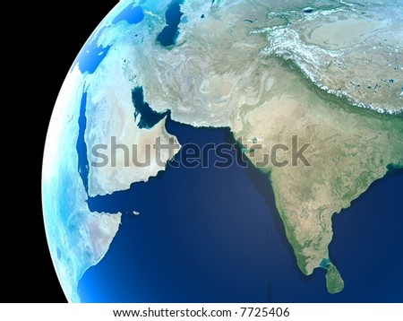 Middle East, India and parts of central Asia as seen from space - stock photo