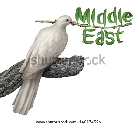 Middle East peace plan and diplomacy concept with a white dove holding an olive branch with the leaves in the shape of the word that includes persian gulf states searching for a negotiated solution. - stock photo
