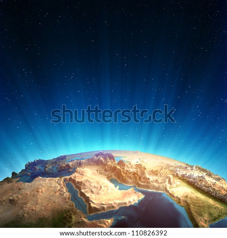 Middle east real relief. Elements of this image furnished by NASA - stock photo