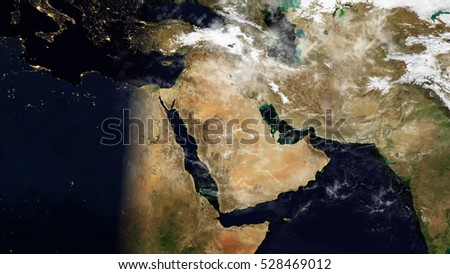 Middle East Satellite Map Composition (Elements of this image furnished by NASA)