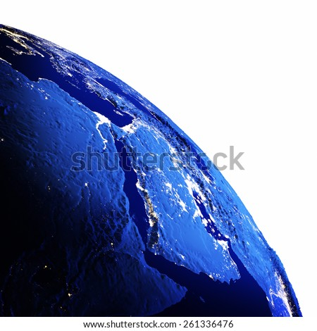 Middle East white isolated. Elements of this image furnished by NASA - stock photo