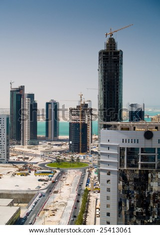 Middle Eastern Construction Skyline - stock photo