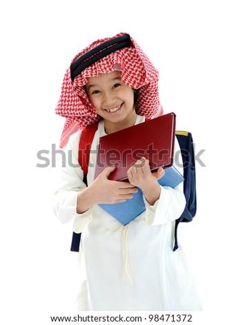 Middle Eastern school kid - stock photo