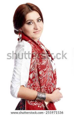 middle eastern woman isolated on white - stock photo