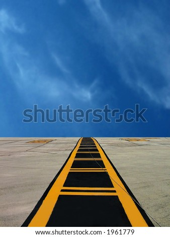 Middle line on military airfield runway in Malta / Taxiway marking - stock photo