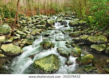 Middle Prong Little Pigeon River in Gatlinburg, Tennessee, U.S.A. - stock photo