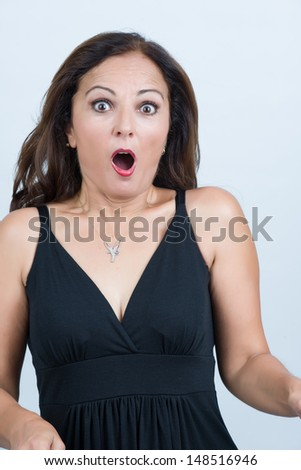 Middleaged attractive woman shocked - stock photo