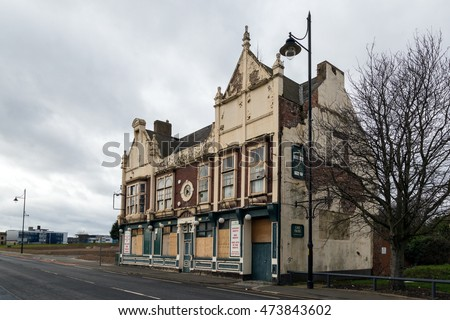 Middlesbrough, UK, 13 February 2016.  Derelict pub building in the Middlehaven district of Middlesbrough town centre, an area of major redevelopment.