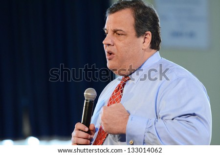 MIDDLESEX BOROUGH,NJ-MARCH 26:New Jersey Governor Chris Christie continued his 104th town hall meeting held at Our Lady of Mount Virgin Parish Center located in Middlesex Borough,NJ,on March 26,2013.