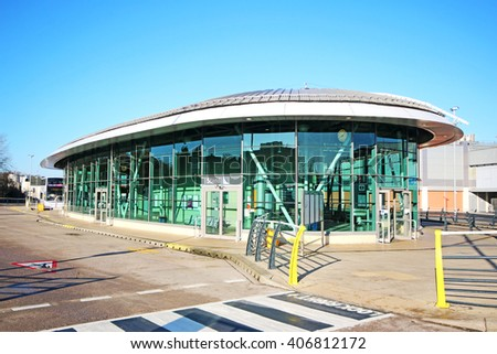 MIDDLETON, MANCHESTER - APRIL 17, 2017: Bus station. Middleton is a town in the Metropolitan Borough of Rochdale, Greater Manchester and lies on the northern edge of Manchester, - stock photo