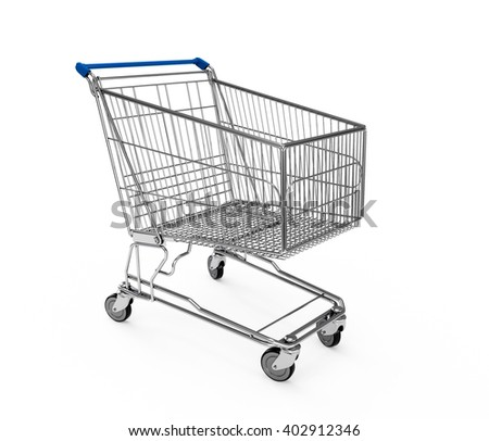 Midnight Blue Shopping cart isolated on white background. 3D Rendering, 3D Illustration.