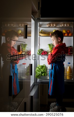 midnight snack, looking into fridge