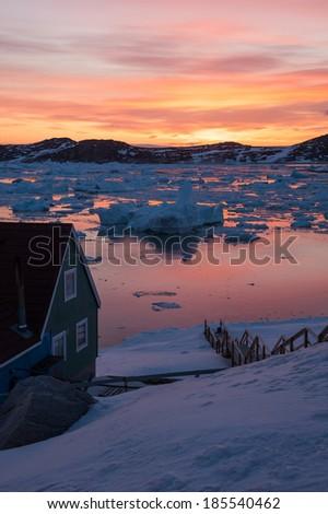 Midnight sun light in Ilulissat, Greenland - stock photo