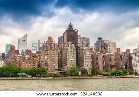 Midtown Manhattan buildings as seen from East River.