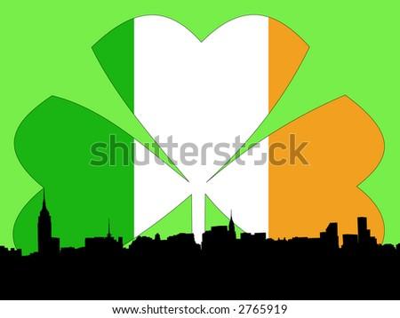 Midtown manhattan Happy St Patricks day illustration - stock photo