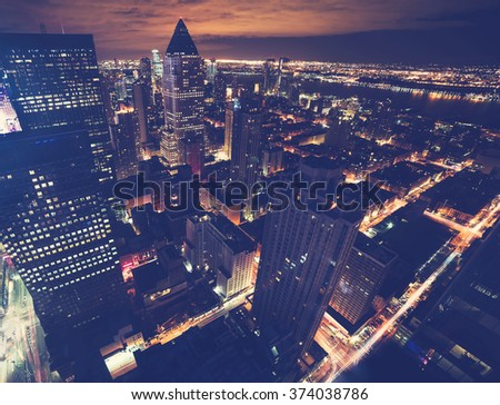 Midtown Manhattan New York skyline at night - stock photo