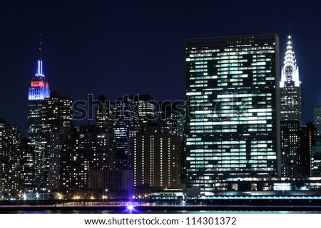 Midtown Manhattan skyline at Night Lights, New York City - stock photo