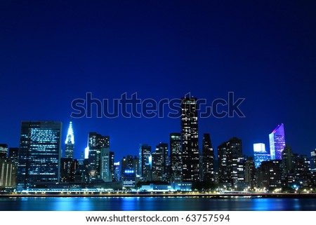 Midtown Manhattan skyline at Night Lights, New York City - stock photo