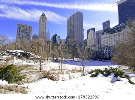Midtown Manhattan Skyline from Central Park, New York - stock photo