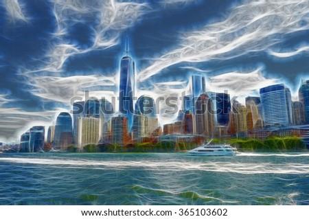 Midtown Manhattan skyline, New York City. USA. Modern digital creation. - stock photo