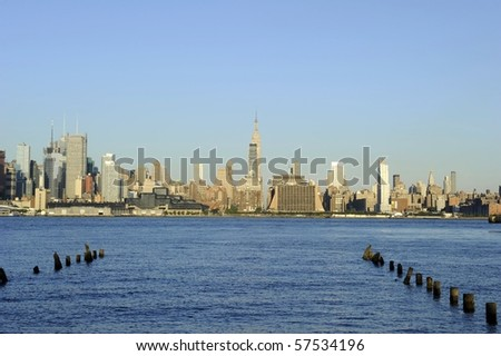 Midtown New York city skyline including the Empire State Building - stock photo