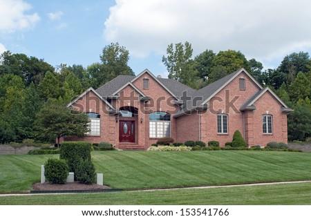 Midwest Suburban Brick Home - stock photo