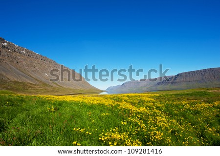 Mighty fjords rise from the sea in the Westfjords Peninsula, northwestern Iceland - stock photo