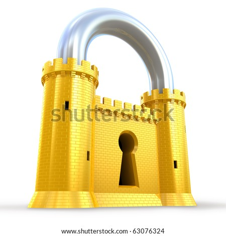 Mighty fortress as a padlock - stock photo