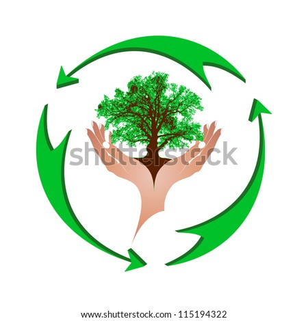 Mighty green oak in gentle female hands and a green arrows. The concept - environmental protection, recycling. - stock photo