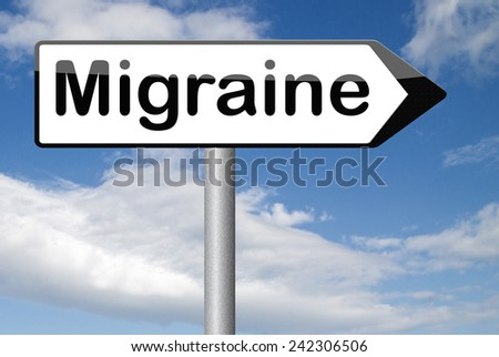 migraine acute or chronic headache need for painkiller or prevent pain  - stock photo