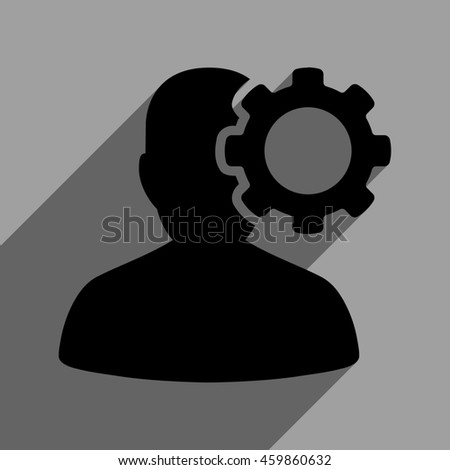 Migraine long shadow glyph icon. Style is a flat migraine black iconic symbol on a gray square background with longshadow. - stock photo