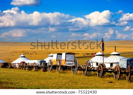 Migration transport in Inner Mongolia, use to migrate from one place to another. - stock photo