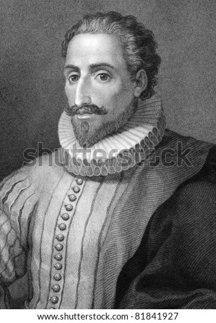 Miguel de Cervantes Saavedra (1547-1616). Engraved by E.Mackenzie and published in The Gallery Of Portraits With Memoirs encyclopedia, United Kingdom, 1833. - stock photo