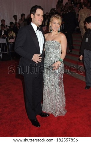 Mike Comrie, Hilary Duff, in an Elie Saab gown, at Superheroes Fashion and Fantasy Gala, Metropolitan Museum of Art Costume Institute, New York, May 05, 2008