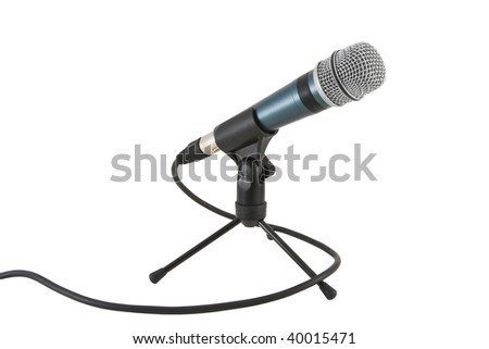 Mike with cord on a table stand isolated on white - stock photo