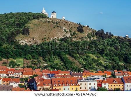 Mikulov, Czech Republic - May 17, 2015. Saint Sebastian Chapel on so called Holy Hill in small Mikulov city in South Moravian Region - stock photo