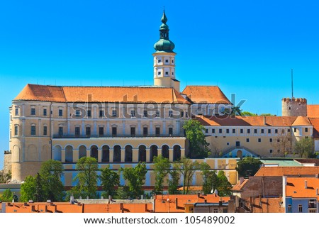 Mikulov (Nikolsburg) castle and town in South Moravia, Czech Republic