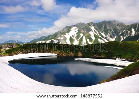 Mikurigaike Pond at Chubu Sangaku National Park, Japan Alp, Japan - stock photo