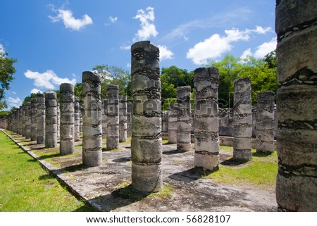 Mil Columnas Ruins at Chichen Itza - stock photo