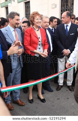 MILAN - APRIL 30: Mayor of Milan Mrs Letizia Moratti and local authorities open NavigaMI Salone Nautico, boat show exhibition in the area of Navigli April 30, 2010 in Milan, Italy.
