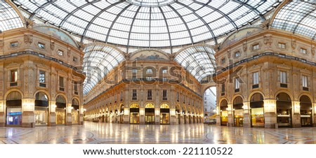 MILAN - AUGUST 12: Vittorio Emanuele II gallery is among the oldest shopping mall in the world, on August 12, 2010 in Milan. - stock photo