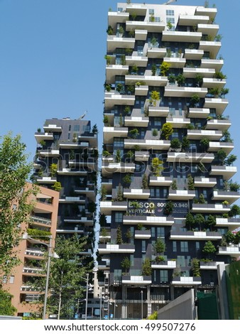 Milan / Bosco Verticale Building / Picture showing the green building in Milan, taken in April 2014.