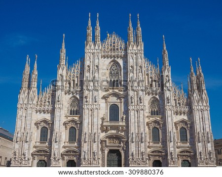 Milan cathedral aka Duomo di Milano gothic church - stock photo
