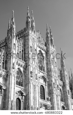 Milan Cathedral In Italy Black And White Retro Style